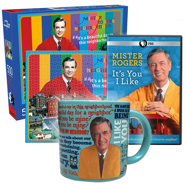 Mister Rogers It S You I Like Dvd Beautiful Neighborhood Puzzle Color Changing Sweater Mug Pledge